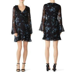 Cleobella Lucy Mini Wrap Dress L Black Floral